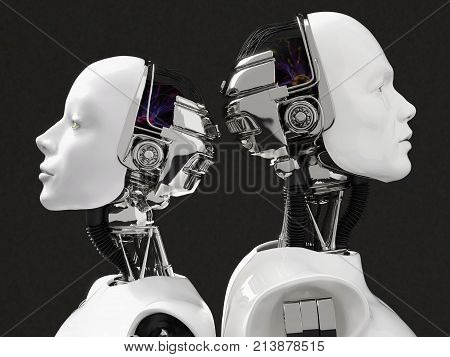 3D rendering of the heads of a female and male robot. They have their heads turned away from each other standing back to back. Black background.