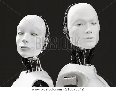 3D rendering of the heads of a female and male robot. They have their heads turned to the camera standing back to back. Black background.