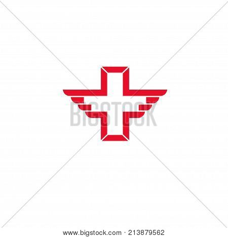 Vector wing cross health icon, cross aid, cross day design concept, Vector cross icon symbol shape illustration