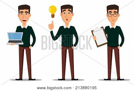Business man cartoon character. Young handsome smiling businessman in smart casual clothes with laptop with clipboard and with lamp. Set of three illustrations. Stock vector