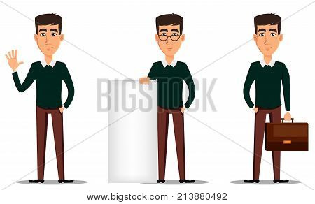 Business man cartoon character. Young handsome smiling businessman in smart casual clothes. Set of three illustrations. Stock vector