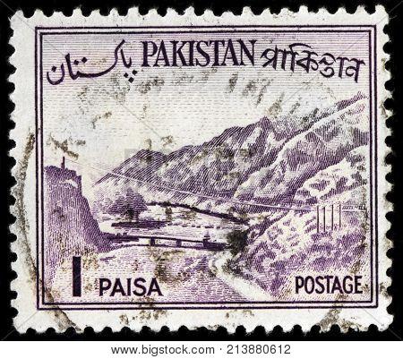 LUGA RUSSIA - OCTOBER 17 2017: A stamp printed by PAKISTAN shows view of The Khyber Pass - a mountain pass connecting the town of Landi Kotal and Pakistan border circa 1961