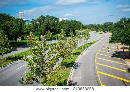 Urban Streets And Roadways And Landscaping On A Sunny Day In Houston , Texas , Usa Green Parks And T