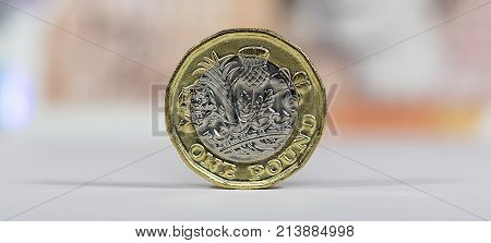 British Money - Close up of a new British one pound coin in a panoramic format. The bimetallic design is to deter counterfeiting.