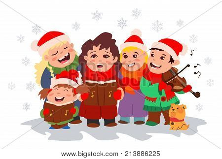 Christmas Caroling. Children choir singing carols and boy playing violin. Vector cartoon illustration with kids and snowflakes on a white background.