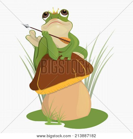 The princess frog. Russian folktale.Children s book.A frog holds an arrow, a crown on its head.He lies on the mushroom s hat, looks thoughtfully at the sky.Vector illustration