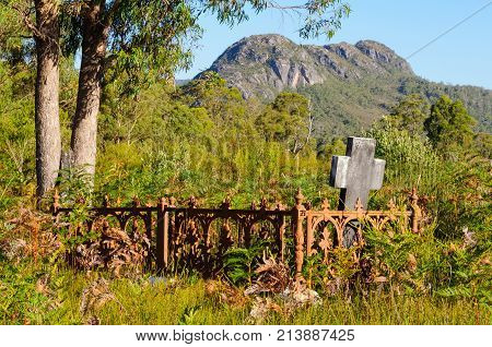 One of the remaining headstones in the Pioneer Cemetery Reserve at Tullah - Tasmania, Australia