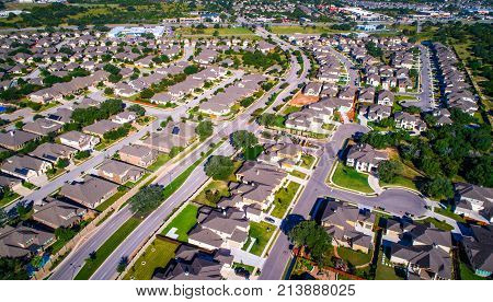 High Priced Real Estate And Luxury Living Aerial Drone View Above Suburb In Austin , Texas , Usa A M