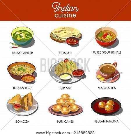 Indian cuisine food traditional dishes. Chicken tandoori samoza, curry rice and vegetables on chapati bread, masala puree soup and saffron dzhalebi. India restaurant menu flat icons vector set