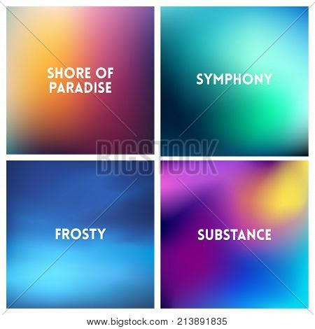 Abstract vector multicolored blurred background set. 4 colors set. Square blurred pink backgrounds set - sky clouds sea ocean beach colors With love quotes
