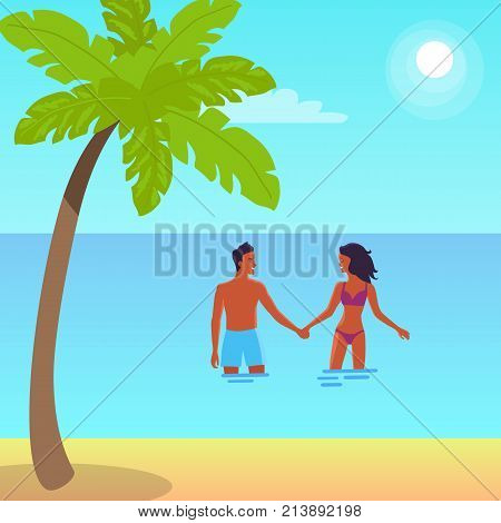Poster of peaceful coast with palm. Vector illustration of man and woman holding hands and standing in sea during bright summer day