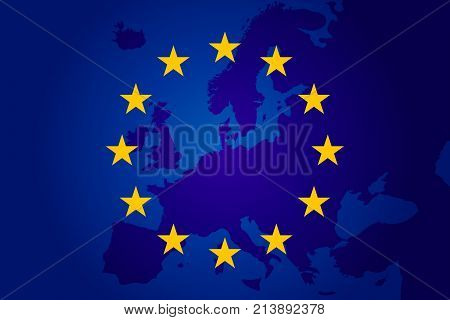 Flag Of European Union. Europe Background. Eu Sing. Vectror