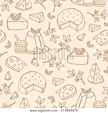 Monochrome seamless pattern with cheese of different kinds - ricotta, roquefort, brie, maasdam. Backdrop with delicious snacks hand drawn with contour lines. Vector illustration for textile print