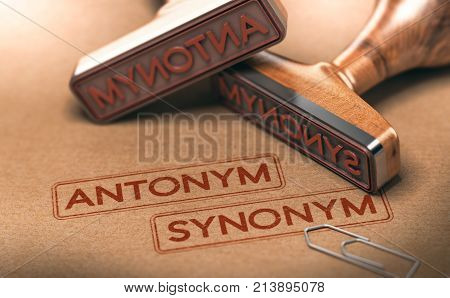 3D illustration of two rubber stamps withe the text antonym and synonym. Linguistics and semantics concept