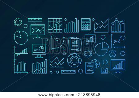 Business analysis and research blue vector illustration or banner in line style on dark background