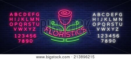 Vector logo flower shop, florist, neon emblem sign logo. Template design element for business, flower delivery, gardening, florist. Editing text neon sign. Neon alphabet.