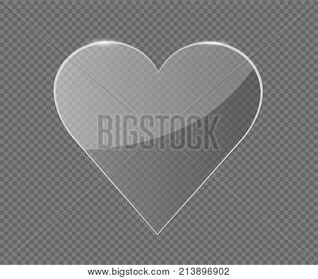 Transparent glass Heart. Vector glass frame. Isolated on transparent background. Glass banner realistic vector