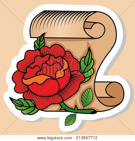 Sketch of old school tattoo. A sketch of a scroll of papyrus paper with red roses green leaves. The sketch is made in warm colors. Hipster youth old school picture for boys and girls
