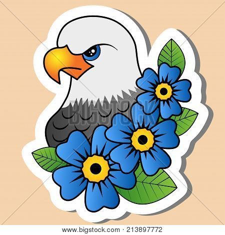 Sketch of old school tattoo. A sketch of a bird of prey eagle falcon hawk tattoo with blue flower and leaves. The sketch is made in warm colors. Hipster youth old school picture for boys and girls