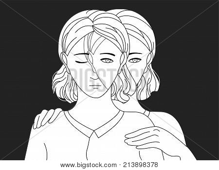 Woman standing behind her sad copy and putting hands on her shoulders. Concept of self aid, support, care and help, inner adult or parent, introspection. Vector illustration in black and white colors
