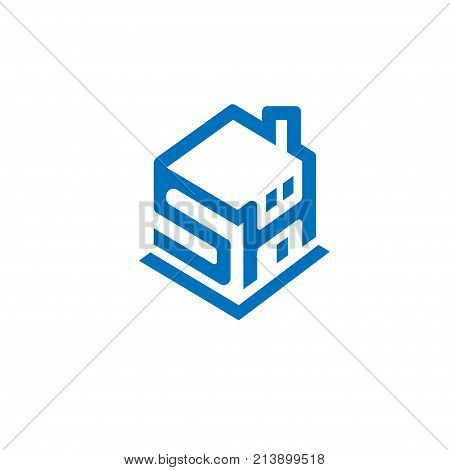 creative and strong  letter SH as  Smart home  concept logo