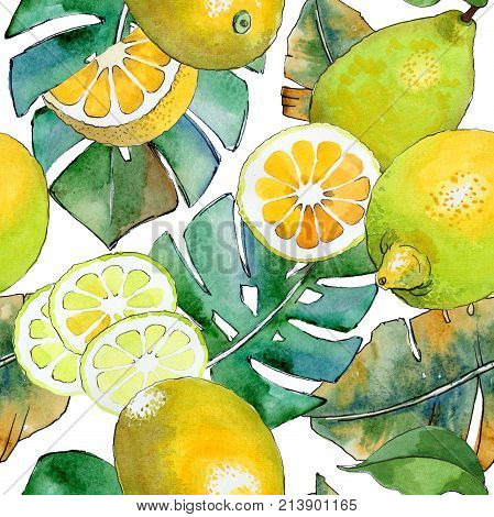 Exotic lemon healthy food pattern in a watercolor style. Full name of the fruit: lemon. Aquarelle wild fruit for background, texture, wrapper pattern or menu. poster