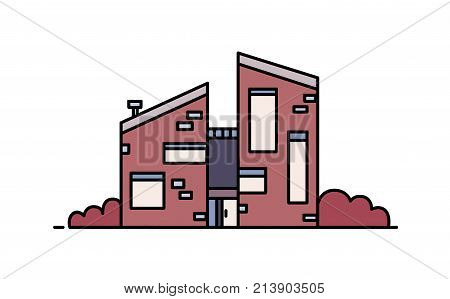 Brick house built in contemporary architectural style using eco materials. Modern city building isolated on white background. Sustainable architecture. Colorful vector illustration in line art style