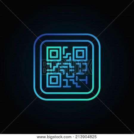 Blue QR Code modern vector linear icon or symbol on dark background