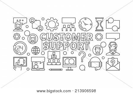Customer support linear illustration - vector customer service concept horizontal banner in thin line style