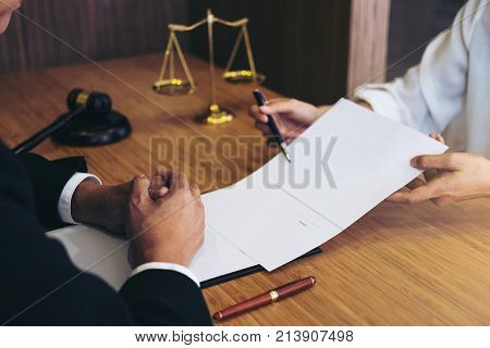 Customer service good cooperation Consultation between a male lawyer and business people customer tax and the company of real estate concept.