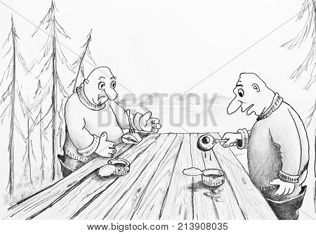 Two fishermen eat canned food. Pencil drawing