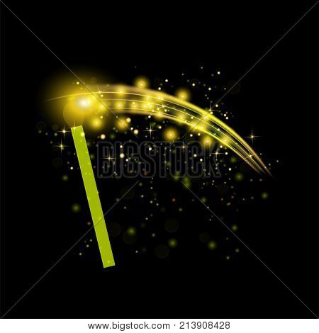 Burning Match with Sparkles Isolated on Black Background