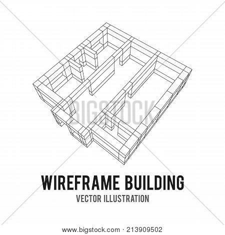 Abstract architecture building. Plan of modern house. Wireframe low poly mesh construction.