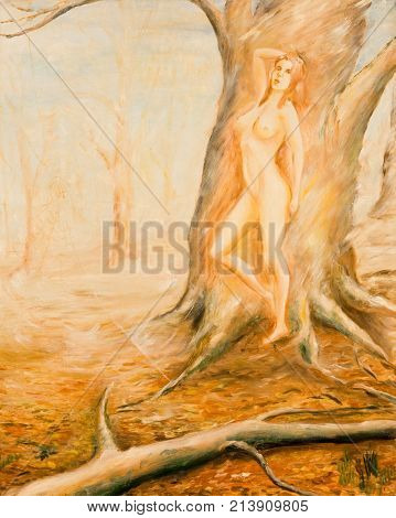 Wood nymph. Nude nymph against the tree. Oil painting