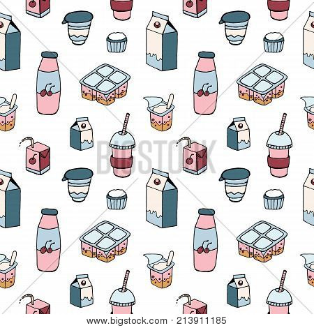 Modern seamless pattern with dairy products drawn on white background - milk, milkshake, berry yogurt, sour cream, curd. Colorful vector illustration for wallpaper, textile print, wrapping paper