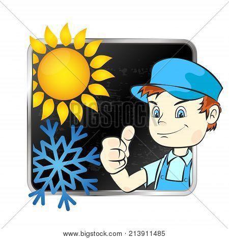 Repair air conditioner symbol vector repairman v