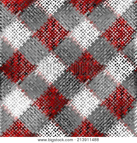Seamless background pattern. Imitation of a texture of rough canvas plaid painted.