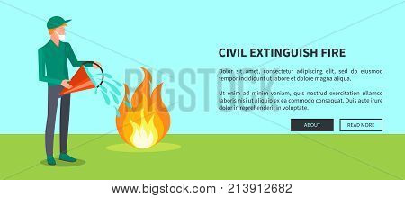 Civil extinguish fire vector illustration of man extinguishing wildfire that engulfed some area of green grass within bucket full of water with text.