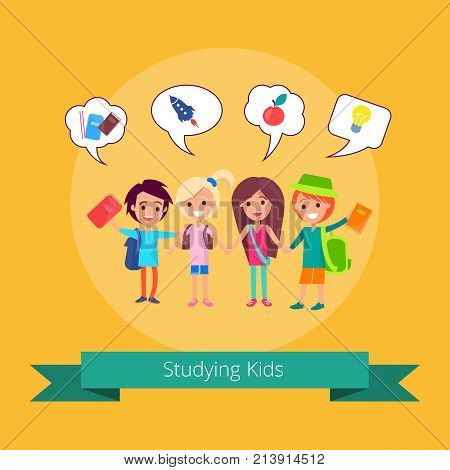 Studying kids with small icons above and inscription vector illustration on light orange background. Joyful pupils gaining knowledge at school
