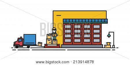 Warehouse with roller shutter and worker in hard hat loading cargo boxes into truck. Commercial building for storage of goods isolated on white background. Vector illustration in lineart style