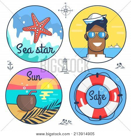 Collection of multiple marine icons and items. Vector illustration of pink sea star, happy sailor, peaceful seaside and life preserver