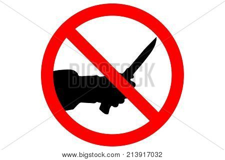 STOP KILLING sign. Silhouette of human hand with killing knife.