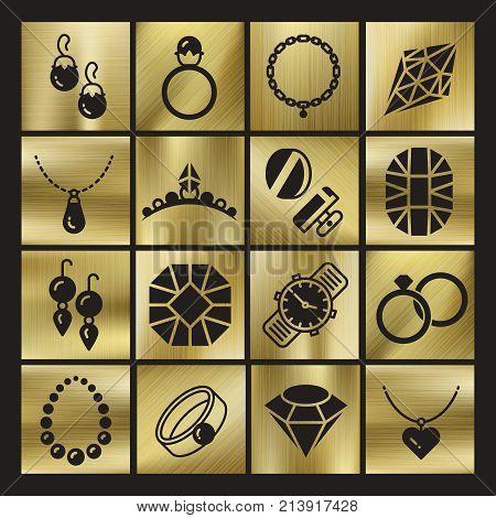 Golgen luxury jewelry icons set. Ring jewelry and diamond symbol, vector illustration