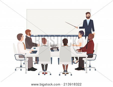 Group of cartoon people dressed in smart clothing sit around table and listen to man with pointer making presentation at board. Corporate business training, whiteboard meeting. Vector illustration