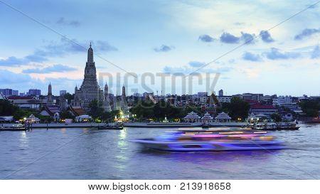 Wat Arun Ratchawararam Ratchawaramahawihan or Wat Arun meaning Temple of Dawn on Chao Phraya River in twilight Bangkok Thailand
