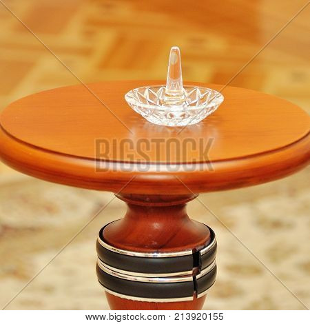 wedding decoration with wedding rings in soft focus