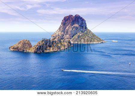Es Vedra Rock Ibiza Island Spain Travel Mediterranean Sea Boat Vacation