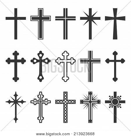 Christian Cross Icons Set on White Background. Vector illustration