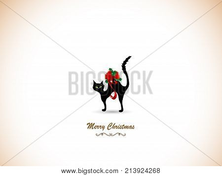 Silhouette of black cat and red bow