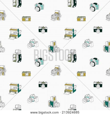 Trendy seamless pattern with hand drawn half colored vintage and modern photo cameras on white background. Vector illustration in doodle style for wallpaper, wrapping paper, textile print, backdrop